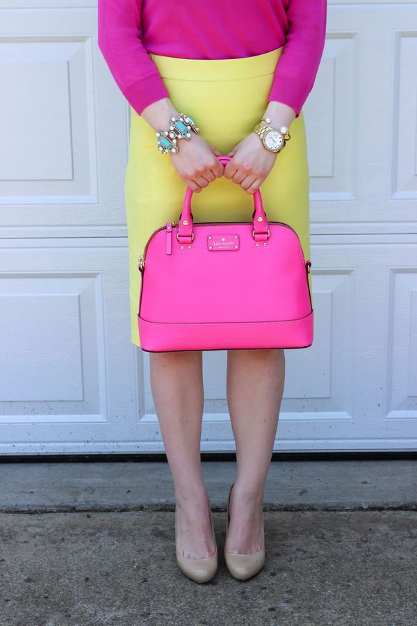 Ann Taylor Yellow Skirt, J. Crew Hot Pink Sweater, Lawyer Lookbook