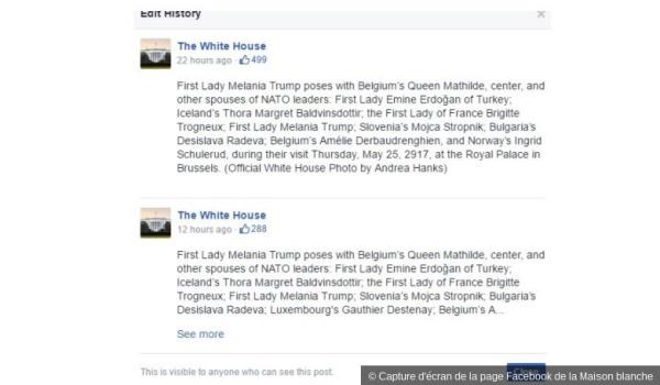Le post qui est resté visible plus de 10h sur la page Facebook officielle de la Maison blanche qui a oublié de mentionner l'époux du Premier ministre luxembourgeois sur une photo qui regroupai les conjoints de chefs d'Etats présents au G7.