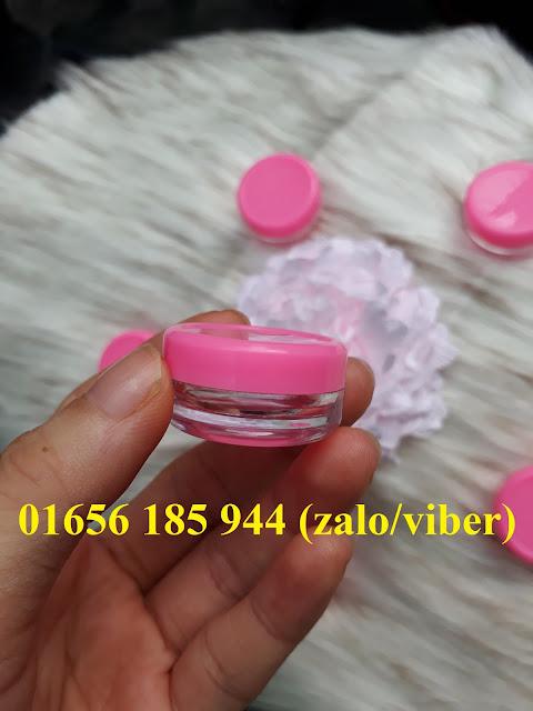 Hũ nhựa trong 3ml nắp hồng