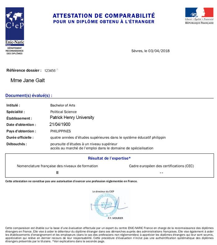 attestation de comparabilite de diplome obtenu a l'etranger france