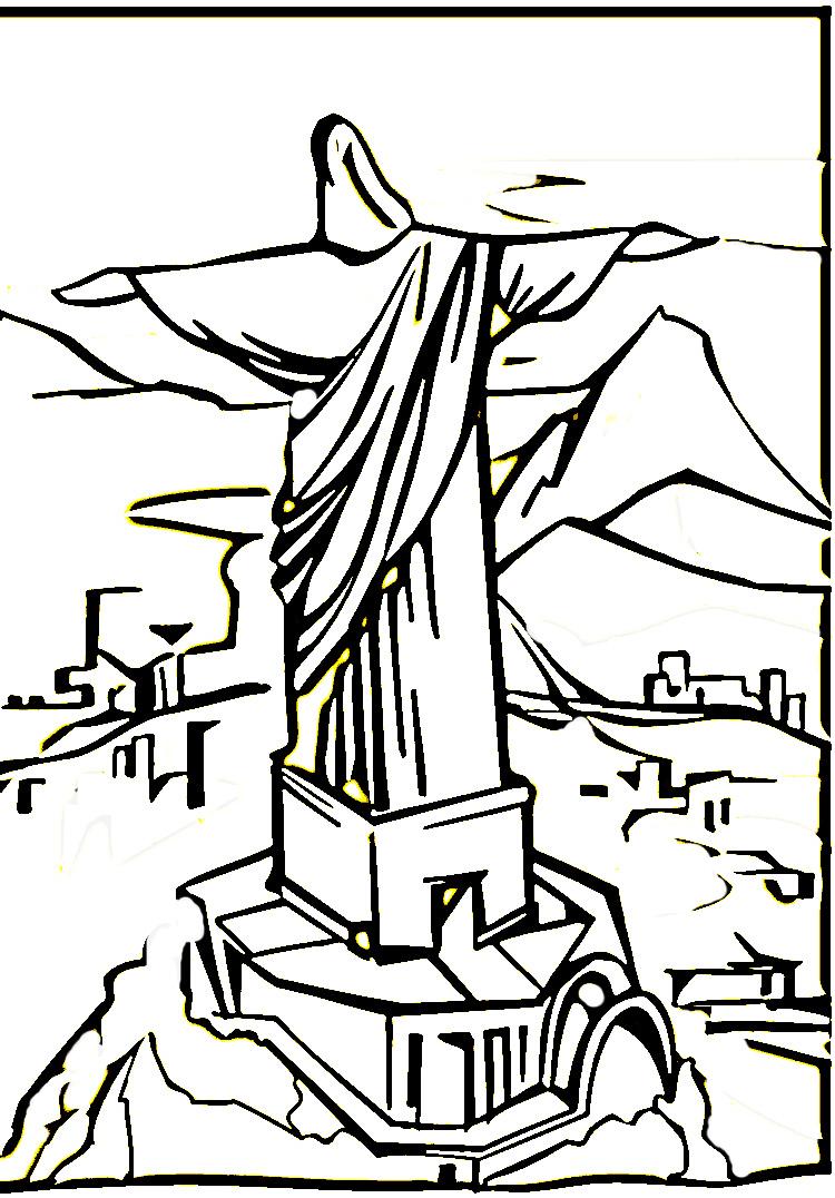 Desenhos do Cristo Redentor para Colorir