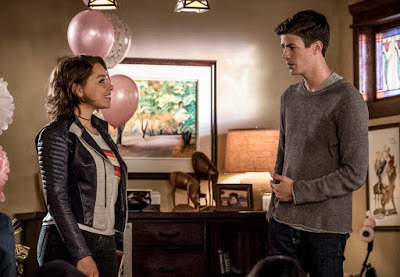 """The Flash -- """"Nora"""" -- Image Number: FLA501a_0170.jpg -- Pictured (L-R): Jessica Parker Kennedy as Nora West - Allen and Grant Gustin as Barry Allen -- Photo: Katie Yu/The CW -- © 2018 The CW Network, LLC. All rights reserved"""