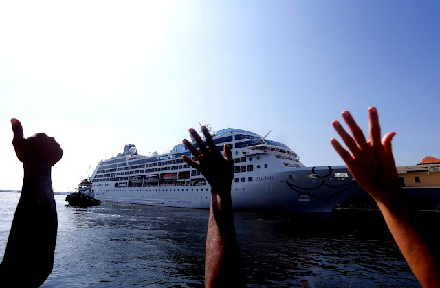 People react during the arrival of U.S. Carnival cruise ship Adonia at the Havana bay, the first cruise liner to sail between the United States and Cuba since Cuba's 1959 revolution, Cuba, May 2, 2016. REUTERS/Stringer