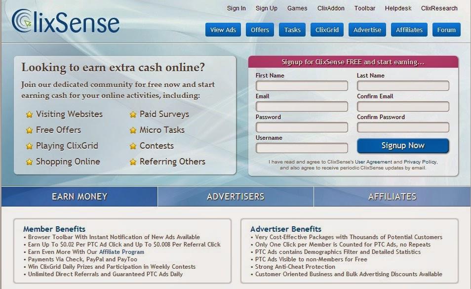 ClixSense - Site para conquiestar a sua Renda Extra