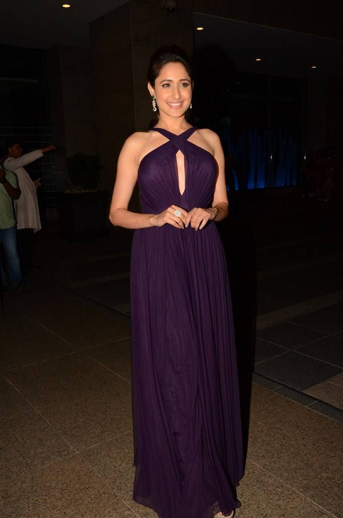 Pragya Jaiswal Hot Photos In Long Purple Gown At Birthday Celebrations