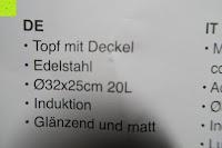 Info: Edelstahl Induktion Kochtopf 20 Liter (Suppentopf mit Glasdeckel, großer Topf, 32 x 25 cm, Dampfloch)