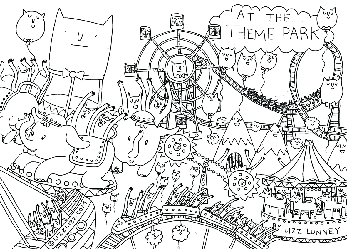 Simple amusement park coloring pages for Amusement park coloring pages