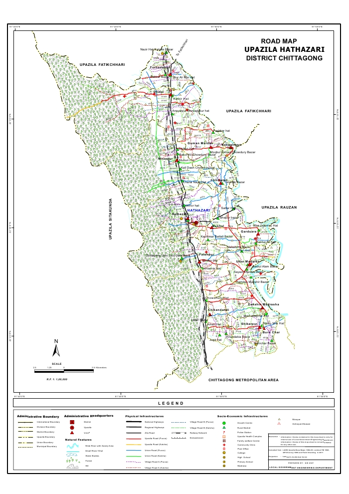 Hathazari Upazila Road Map Chittagong District Bangladesh