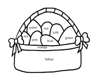 Free Color by color word Easter Basket printable