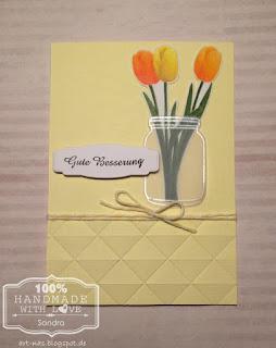 Grußkarte mit den Tulpen aus dem Spring blooms Stempelset von Clearly Besotted