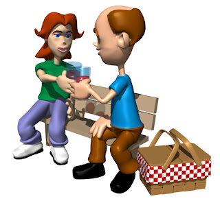 Animation of a couple on a bench having a drink at a picnic