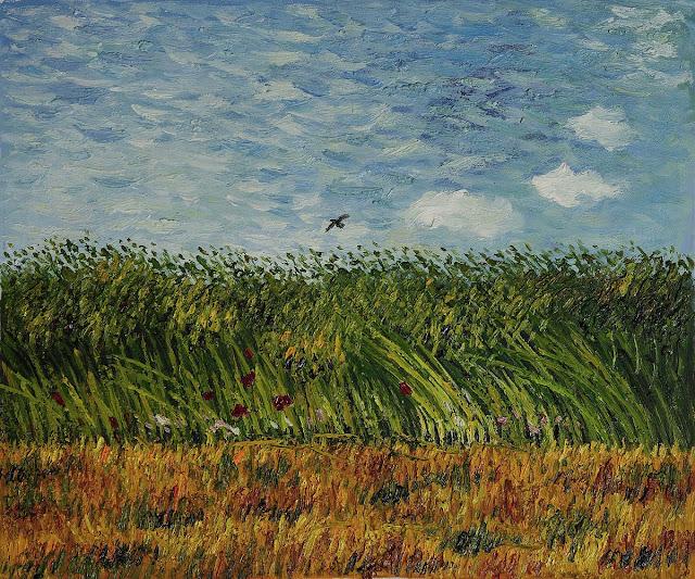 Flight over a field