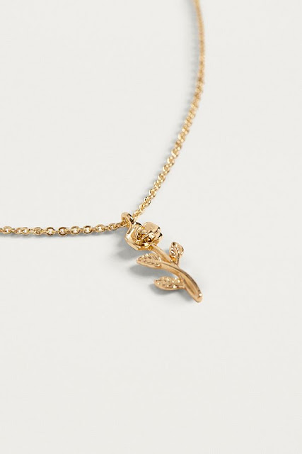 Gold ditsy rose necklace