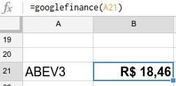 fórmula google finance mostrando a cotação da ação abev3