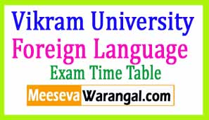 Vikram University Foreign Language March 2017 Exam Time Table