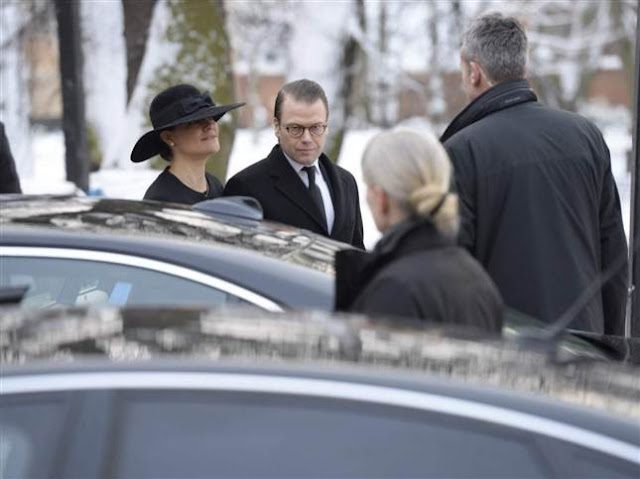 Swedish Royal Family attends funeral in Stockholm - Crown Princess Victoria, Prince Daniel