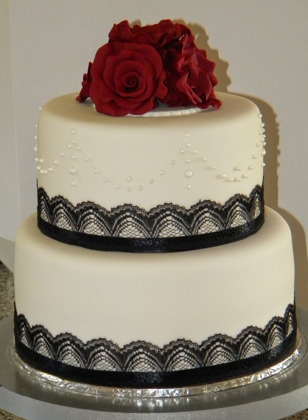 Bite Me Cupcakes And Wrappers Deep Red Roses Black Lace Wedding Cake