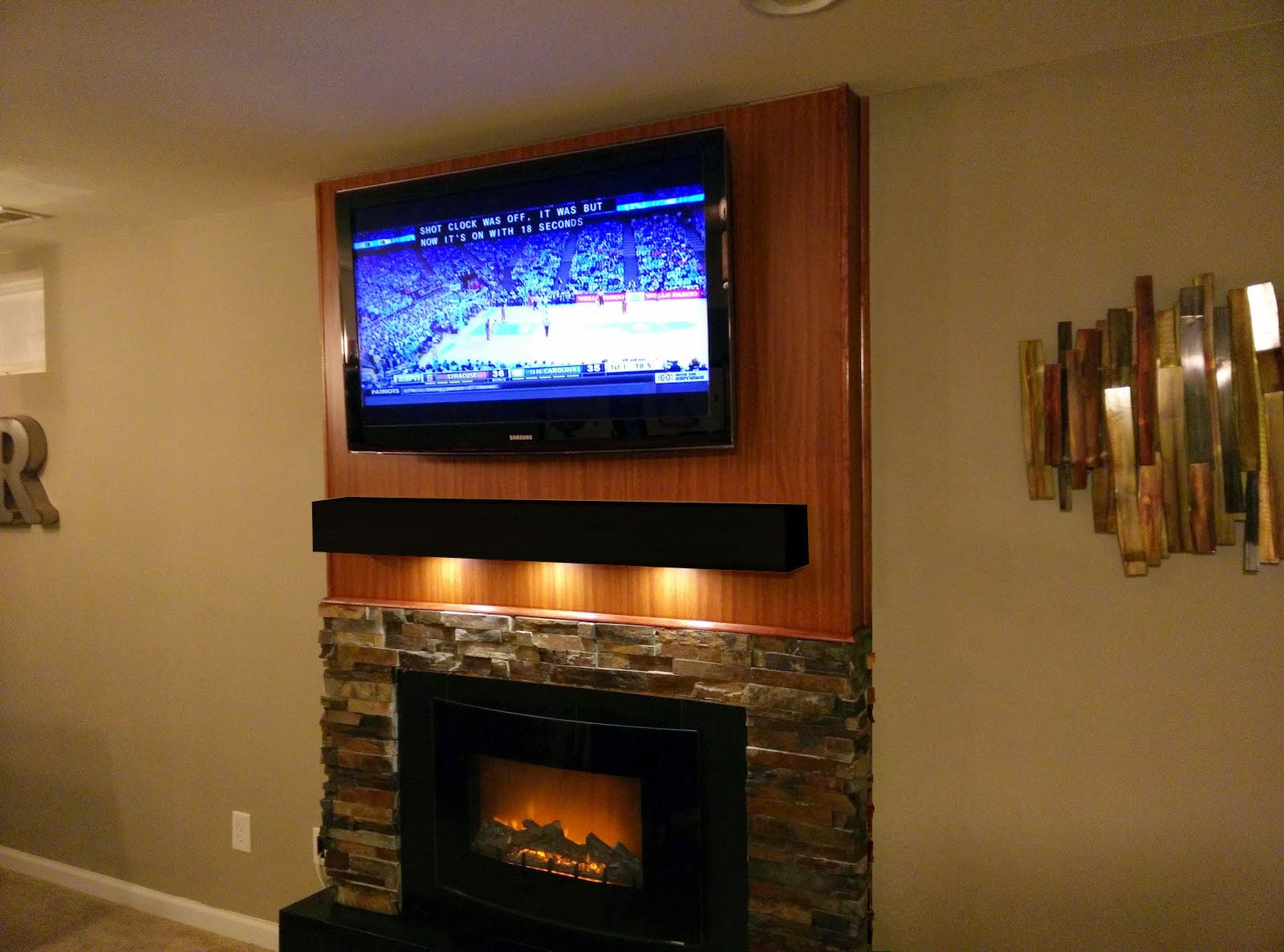 Diy Tv Fireplace Wall With Stone Accent Tile Surround