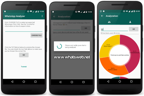 uso y las estadísticas de WhatsApp con Analyzer for WhatsApp