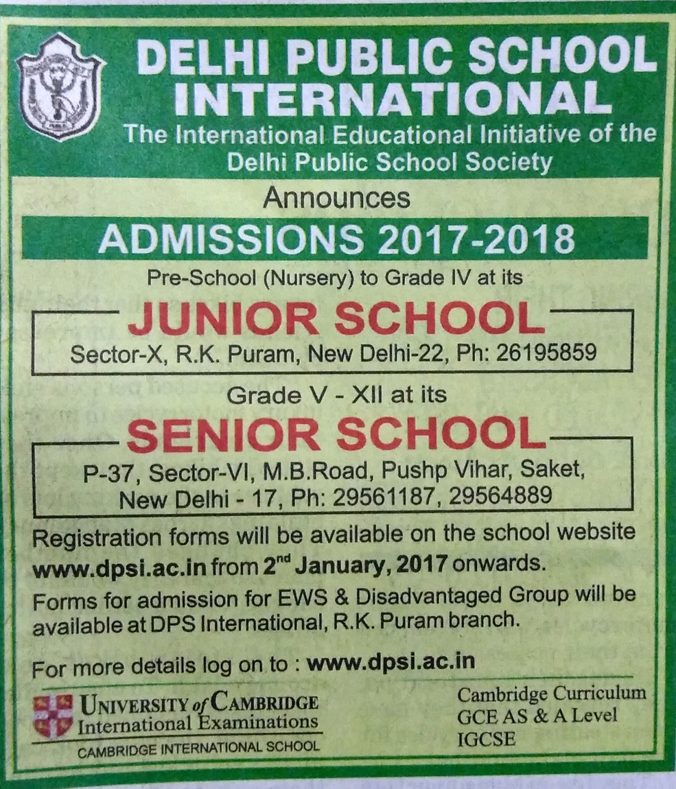 Nursery Admission Delhi 2019 - 2020: Delhi Public School