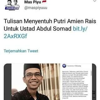 Tulisan Putri Amien Rais Untuk Ustadz Abdul Somad