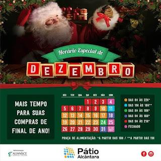 Horário especial de funcionamento em dezembro do Pátio Alcântara