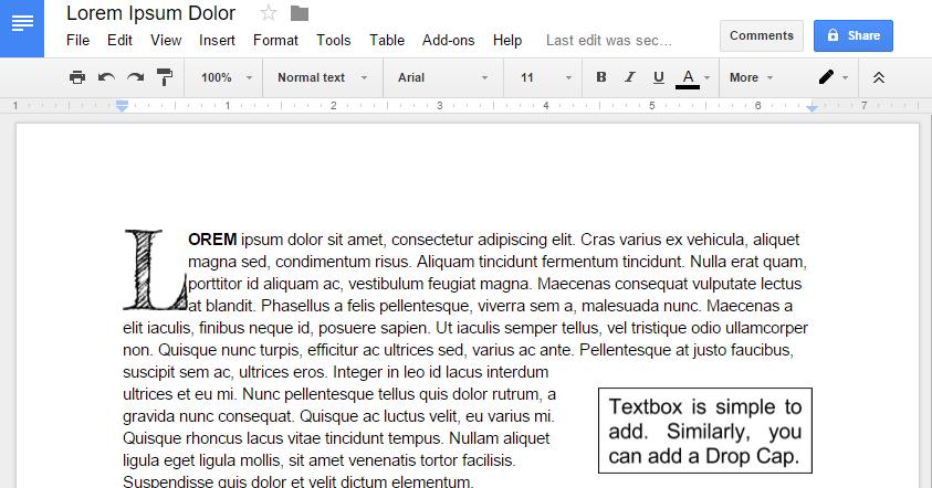 Text Box Or Drop Cap With Google Docs X1f4f0