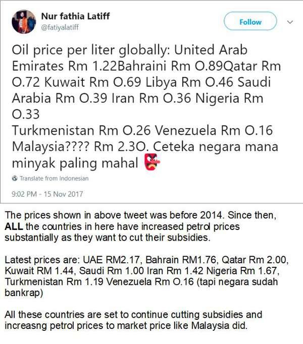 Senarai Harga Petrol Pada Tweet Fathiya Adalah Harga Sebelum Tahun 2014