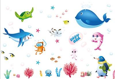 Mẫu đề can hoạt hình thế giới đại dương
