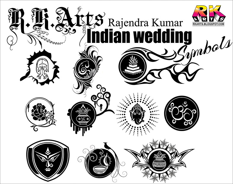 Indian Traditional Wedding Symbols With Decorative Ornaments Free
