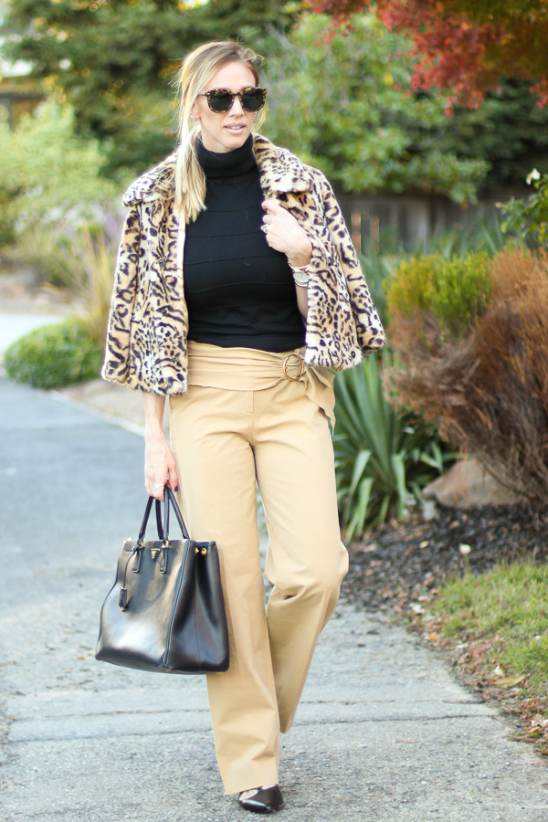 parlor girl faux fur leopard coat trousers trouser style turtleneck chic ponytail lace up flats fall style