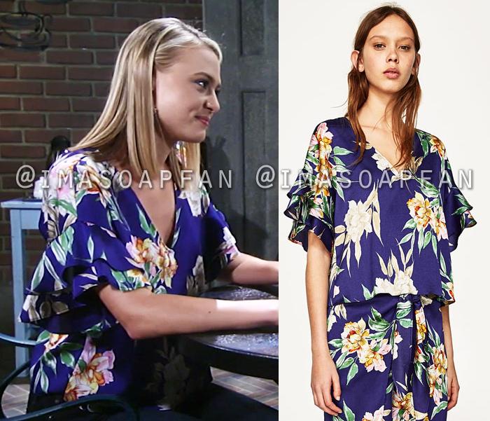 Kiki Jerome, Hayley Erin, Ruffled Blue Floral Print Blouse, Zara, General Hospital, GH