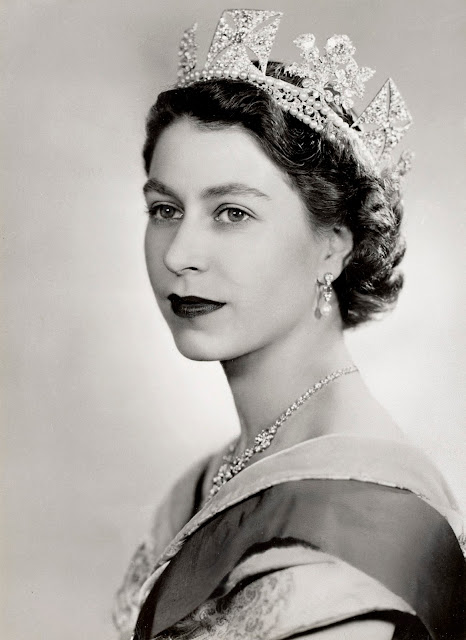 black and white print of our Majesty the Queen