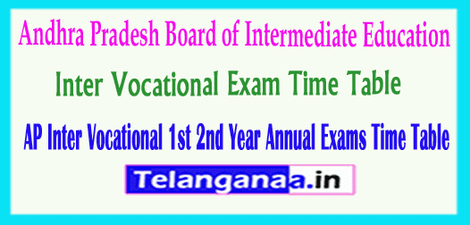 AP Inter Vocational 1st 2nd Year Annual Exam Time Table