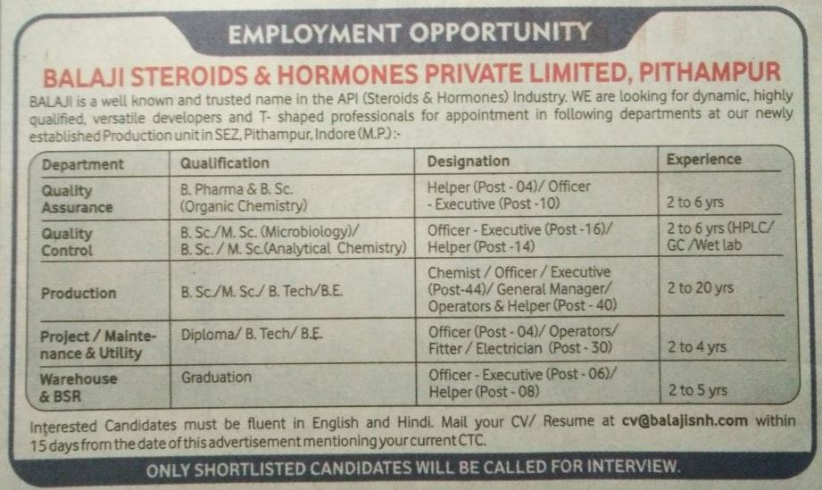 Pharma Vacancy: Opening in Balaji Steroids & Harmones Pvt