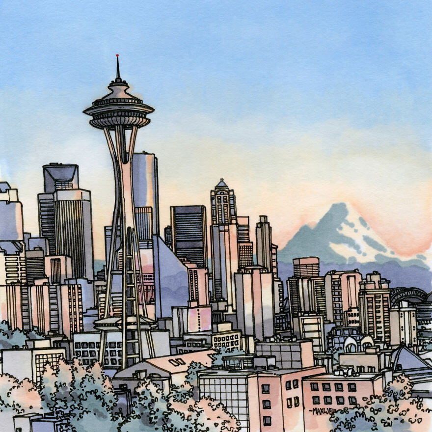13 Artistic Illustrations Of Famous Places Around The World - Seattle, Usa