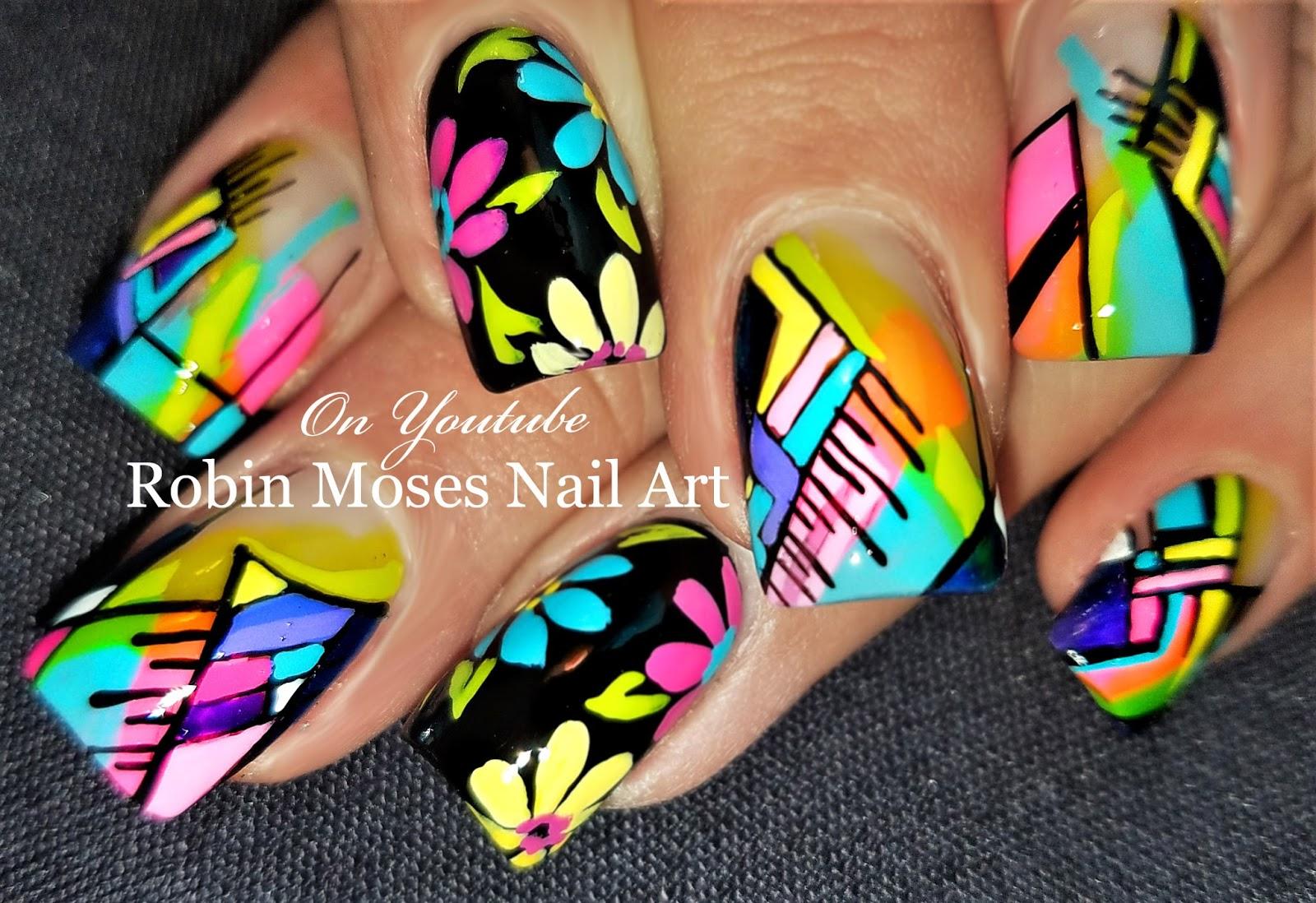 Nail Art by Robin Moses: Neon Daisy Nails 2! | Spring 2018 Nail Art ...