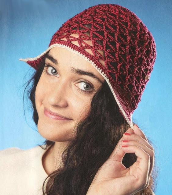 Бордовая шапочка-сетка. Cap-Net