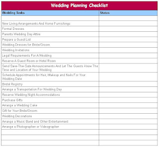 Wedding Plan Checklist Excel Uk Pdf Free