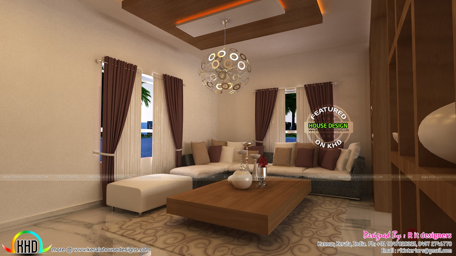 June 2016 kerala home design and floor plans for Kerala house living room interior design