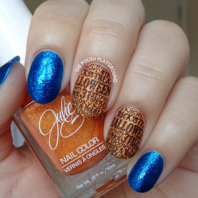 Orange Texture with Black Halloween Words Stamping Nail Art