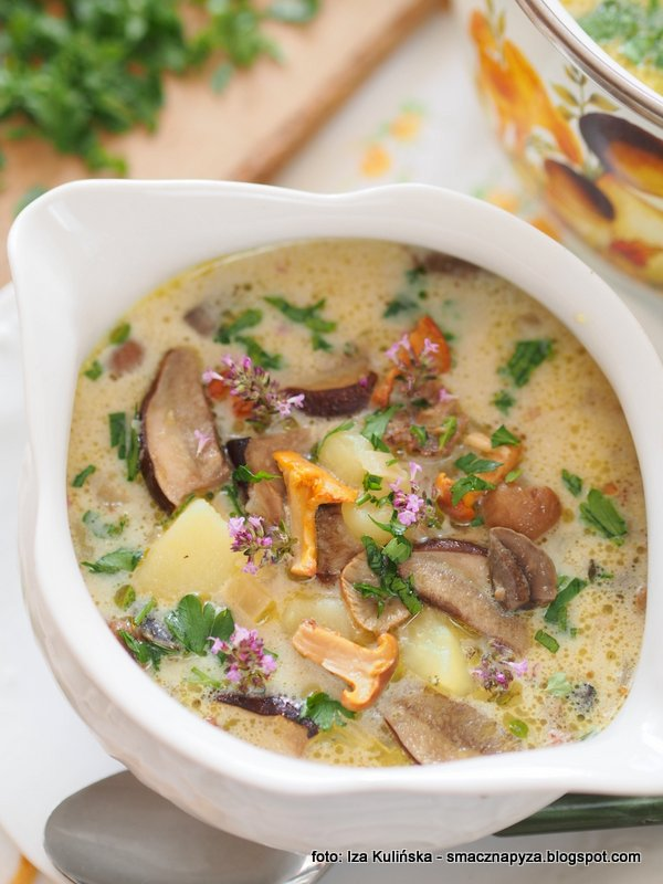 najsmaczniejsza zupa grzybowa, zupa dnia, swieze grzyby, grzyby lesne, obiad, kartoflanka z grzybami