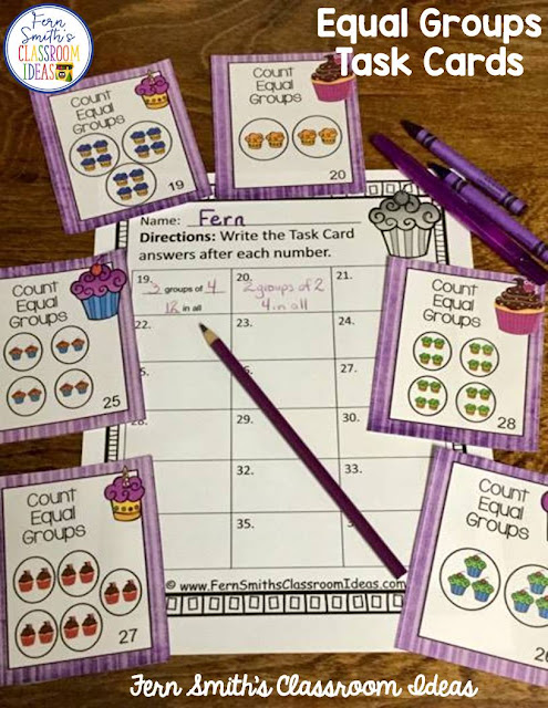 You will love how easy it is to prepare these 3rd Grade Go Math 3.1 Equal Groups Task Cards for your class. My students LOVED Task Cards and your students will too! You can dedicate one of your math centers, math workstations, as a task card center. By changing out the skill each week, your students already know the directions for using the task cards. Your students will enjoy the freedom of task cards while learning and reviewing important skills at the same time! Students can answer these Equal Groups task cards in your classroom math journals or on the included recording sheets. Perfect for assessment grades for 3rd Grade Go Math Chapter 3! Fern Smith's Classroom Ideas Equal Groups Task Cards at TpT.