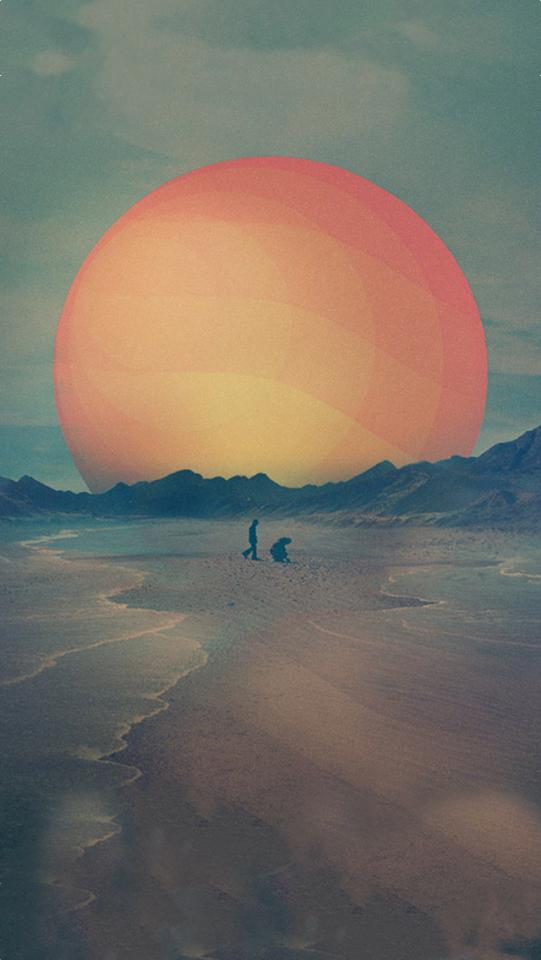 Walk on a Sunny Beach Illustration  Galaxy Note HD Wallpaper
