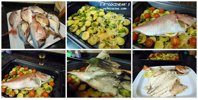 Pescado al horno fácil: pargo con guarnición de patatas