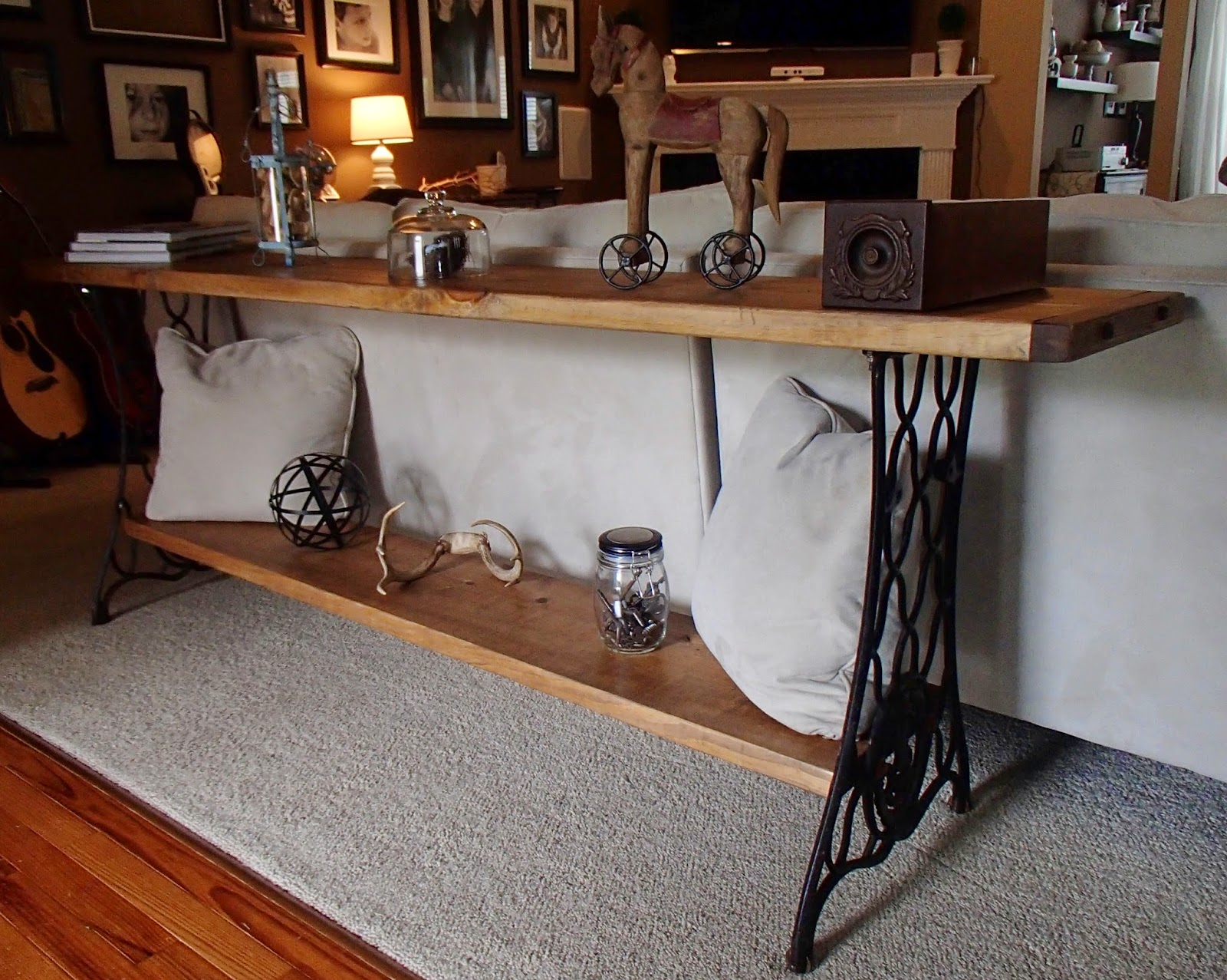 new again singer sewing machine sofa table. Black Bedroom Furniture Sets. Home Design Ideas