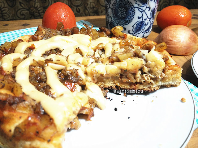 Potato chicken pizza yang dipangga dengan rice cooker