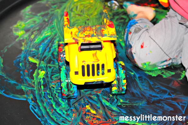 messy process art using toy cars