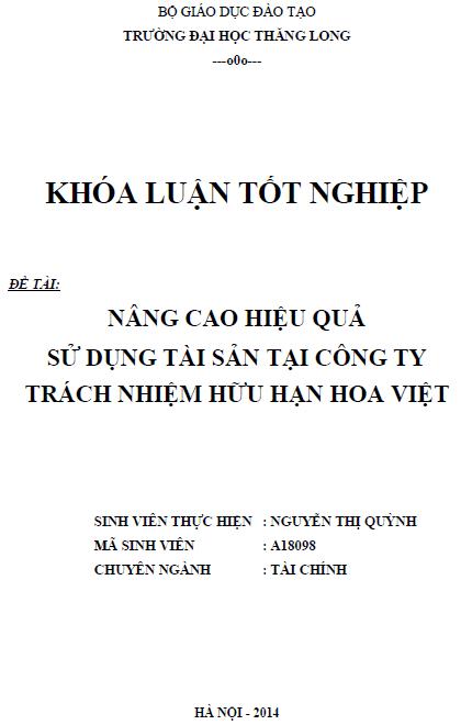 Nâng cao hiệu quả sử dụng tài sản của Công ty trách nhiệm hũu hạn Hoa Việt
