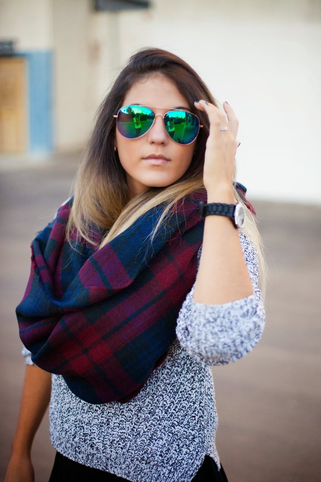 plaid blanket scarf style